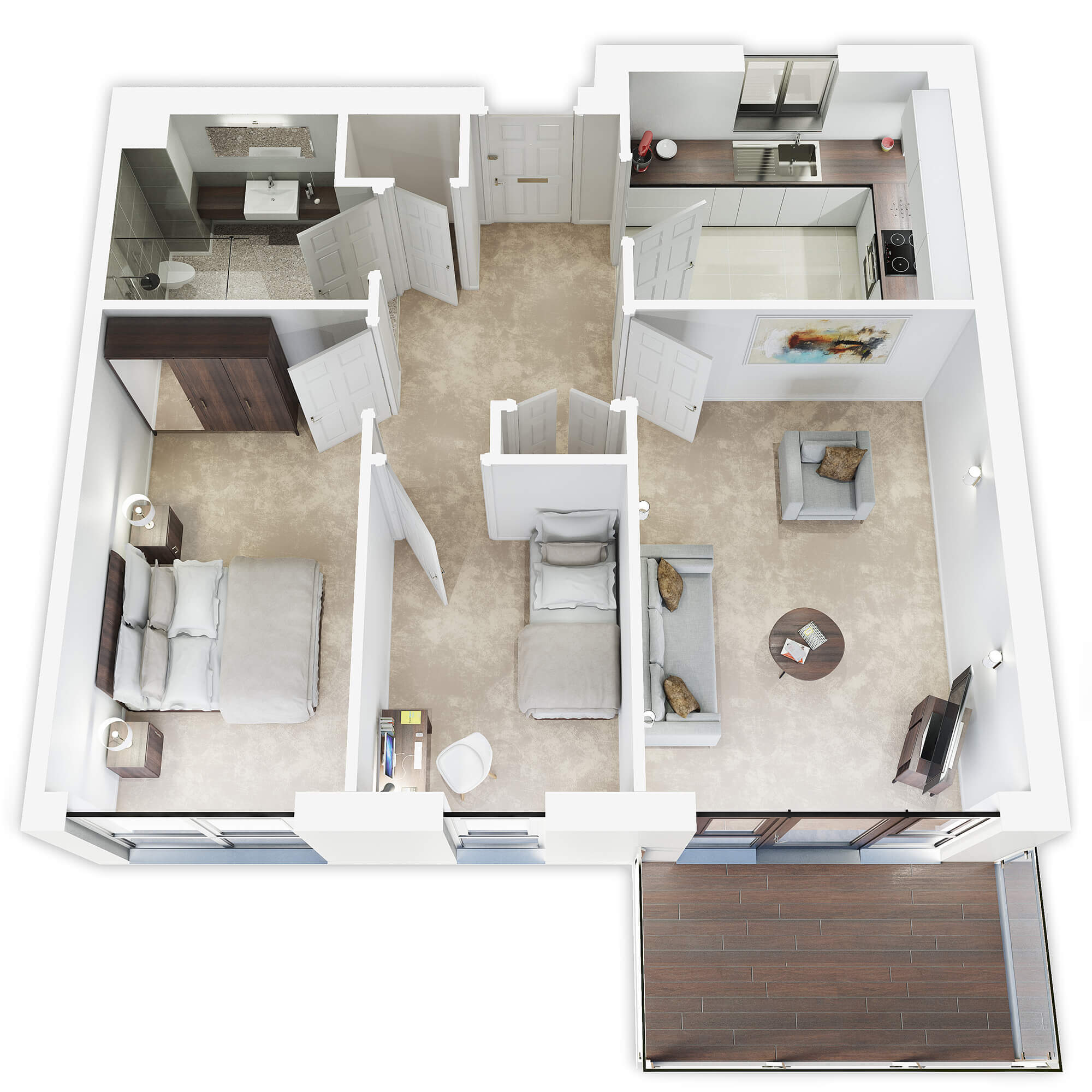 WHITE CROW STUDIOS - 3D COLOURED FLOORPLAN CGI