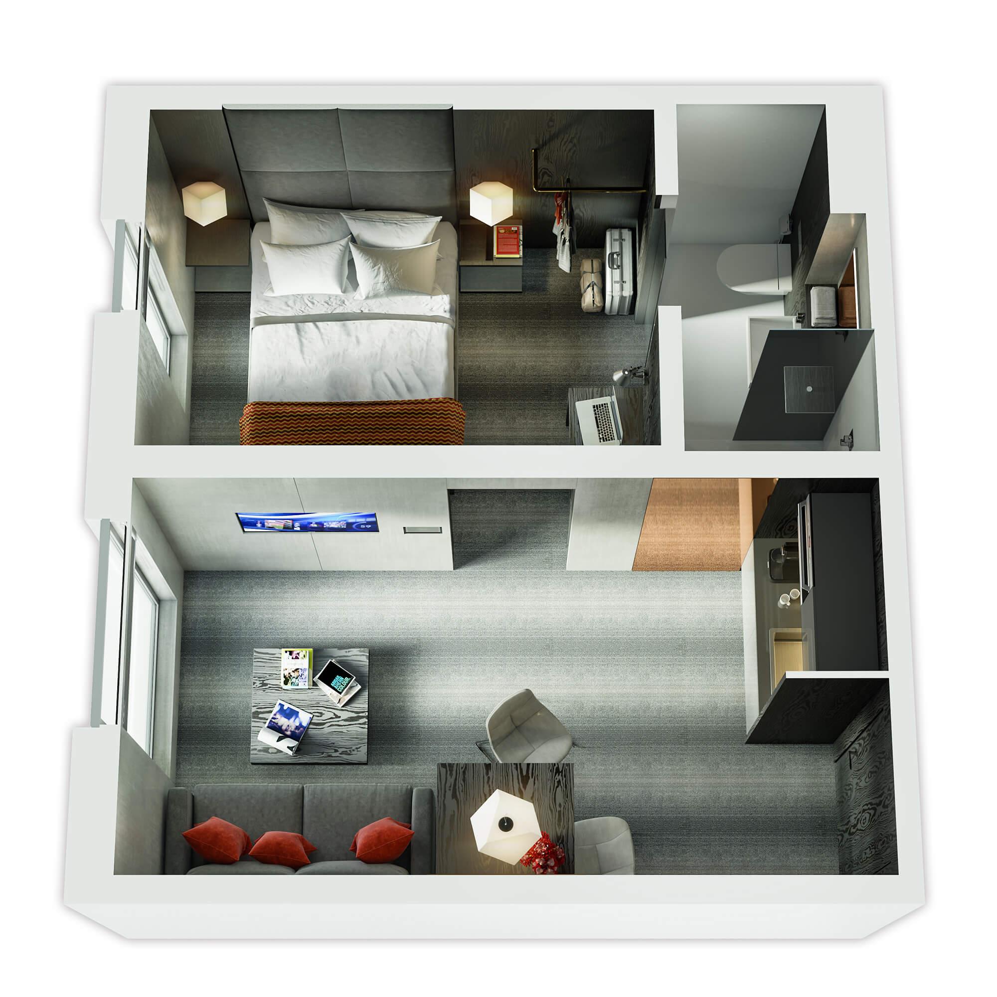WHITE CROW STUDIOS - BLOC HOTEL - 3D FLOORPLAN