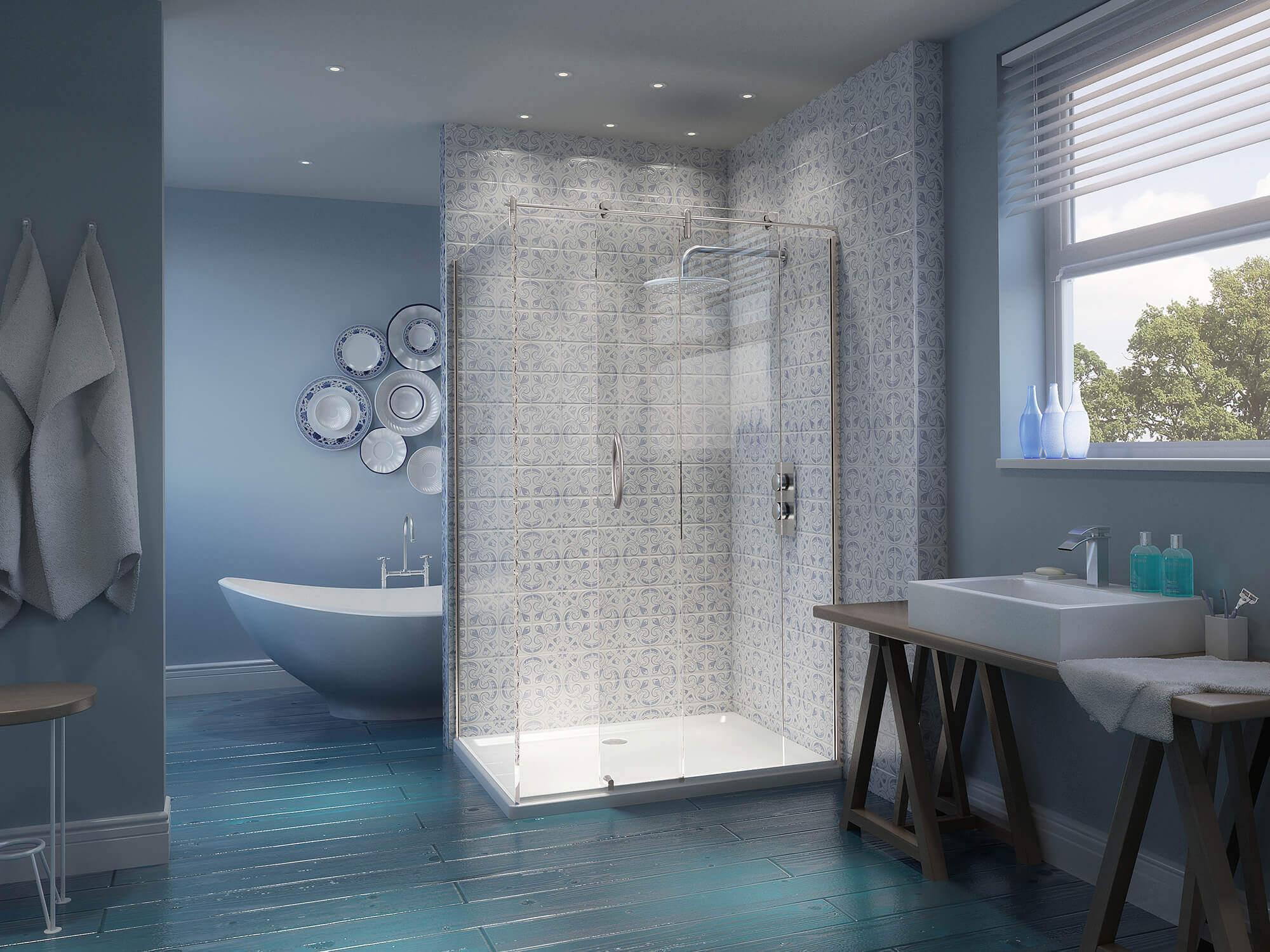 WHITE CROW STUDIOS - CORAM SHOWERS - THE BEACH HUT -BATHROOM CGIB
