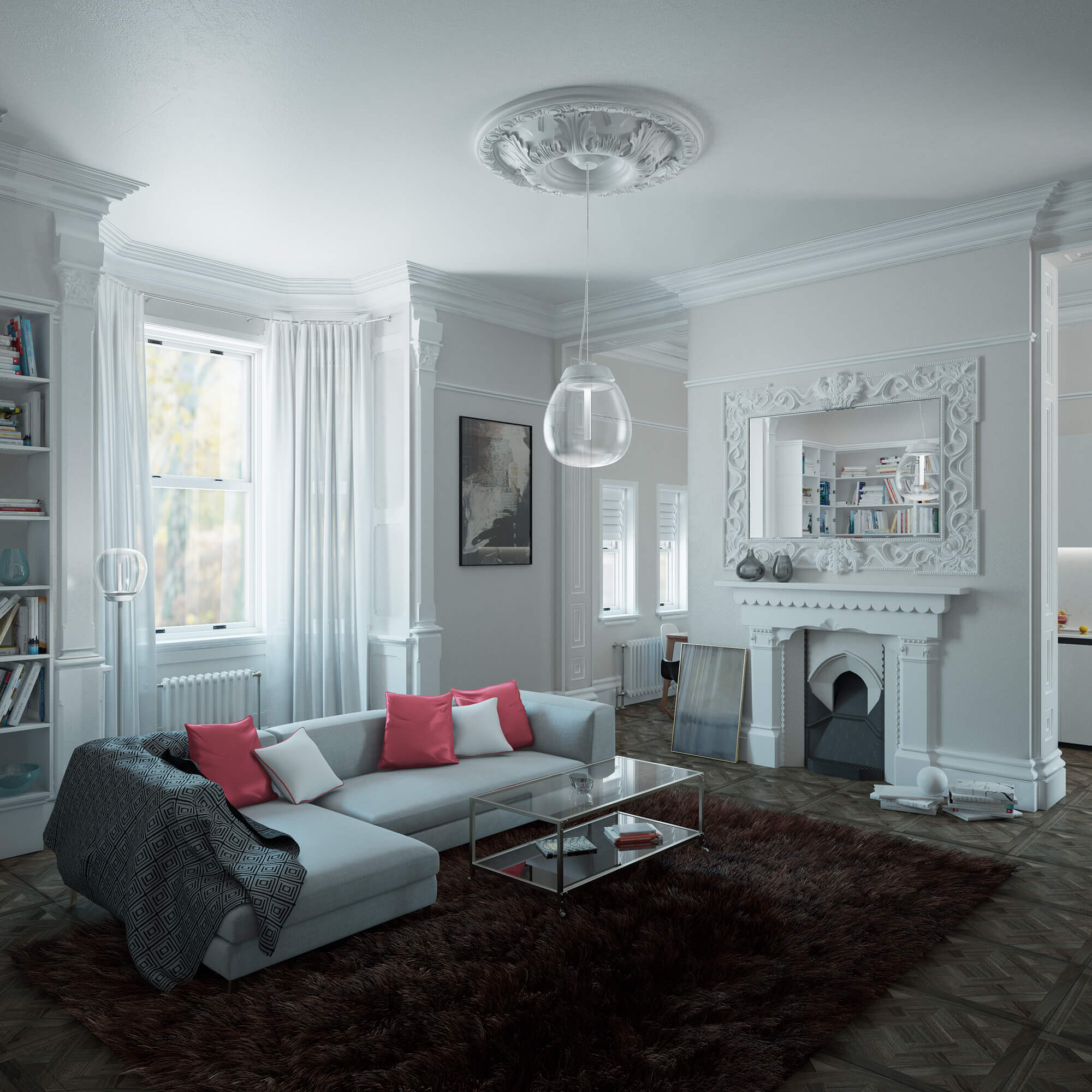 WHITE CROW STUDIOS - COURT COLLABORATION - ROYAL SUTTON PLACE -LIVING ROOM - INTERIOR CGI