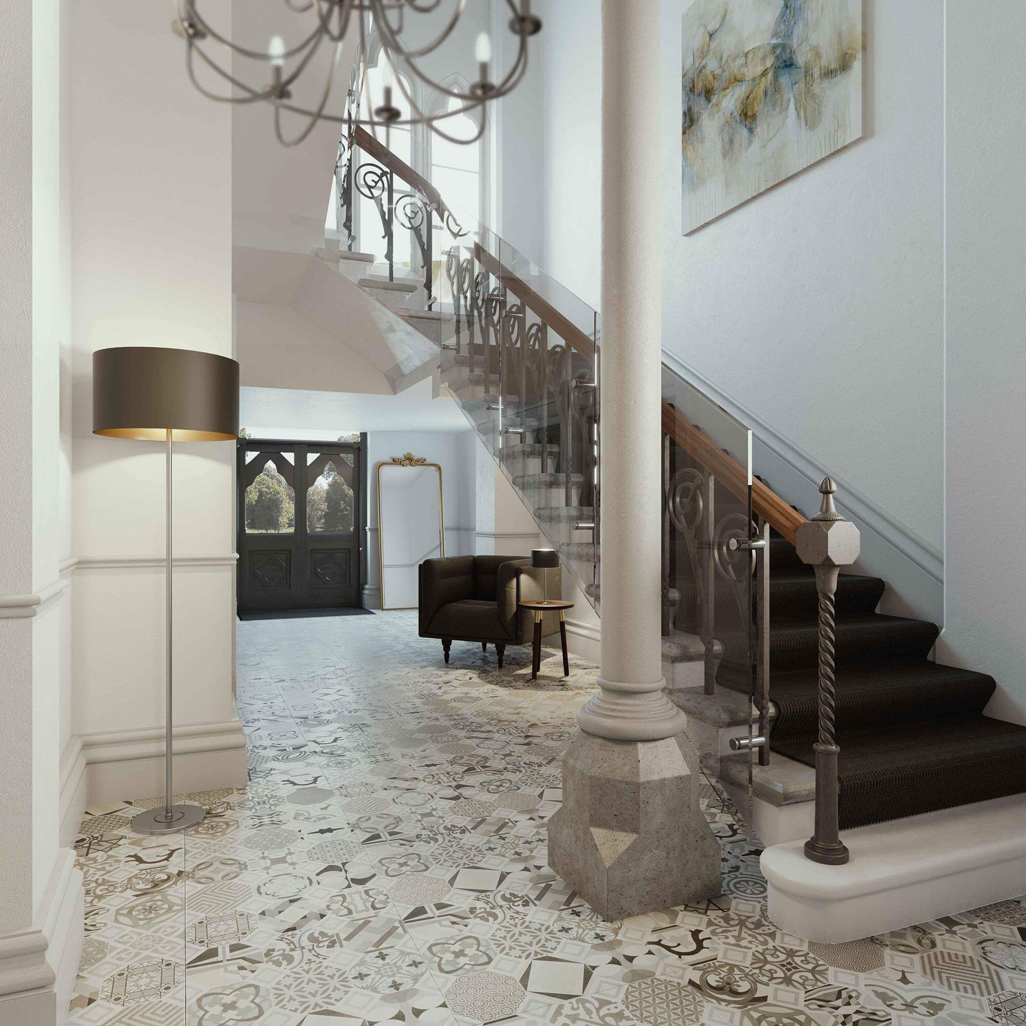 WHITE CROW STUDIOS - COURT COLLABORATION ROYAL SUTTON PLACE - ENTRANCE STAIRCASE CGI