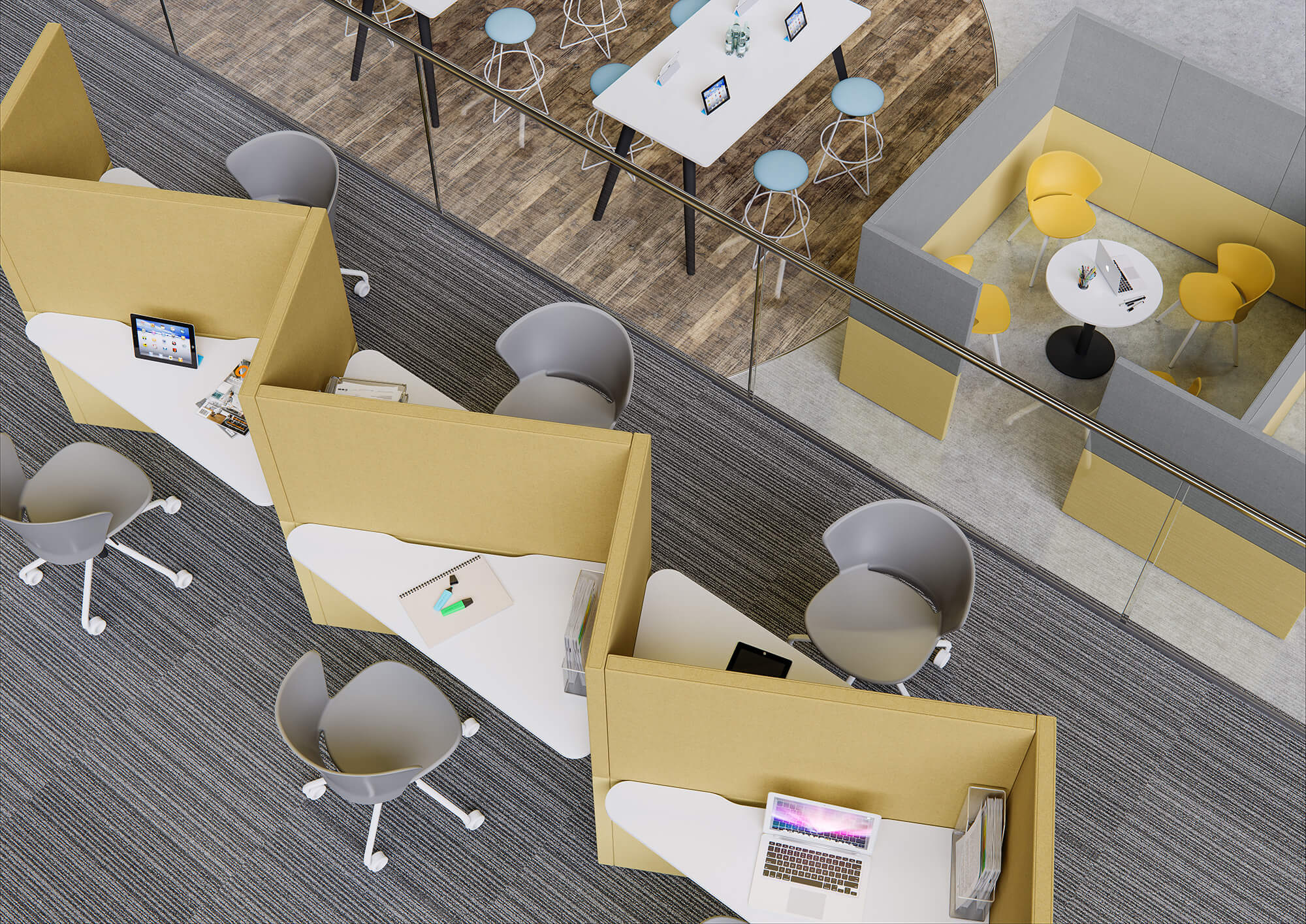 WHITE CROW STUDIOS - OFFICE FURNITURE CGI - GRESHAM OFFICE FURNITURE - ALACAMA ROOMSET