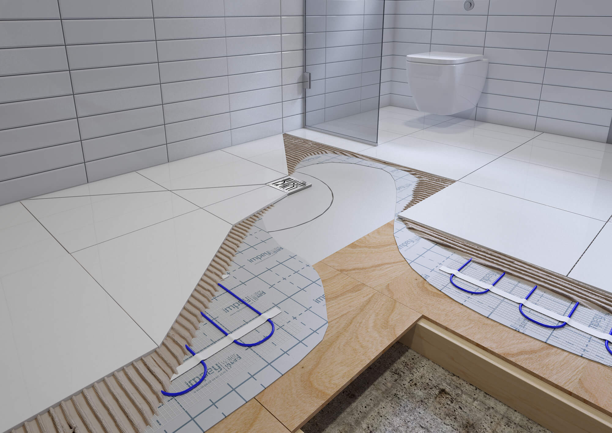 WHITE CROW STUDIOS - PRODUCT CGI - WETROOM FLOOR CUT AWAY