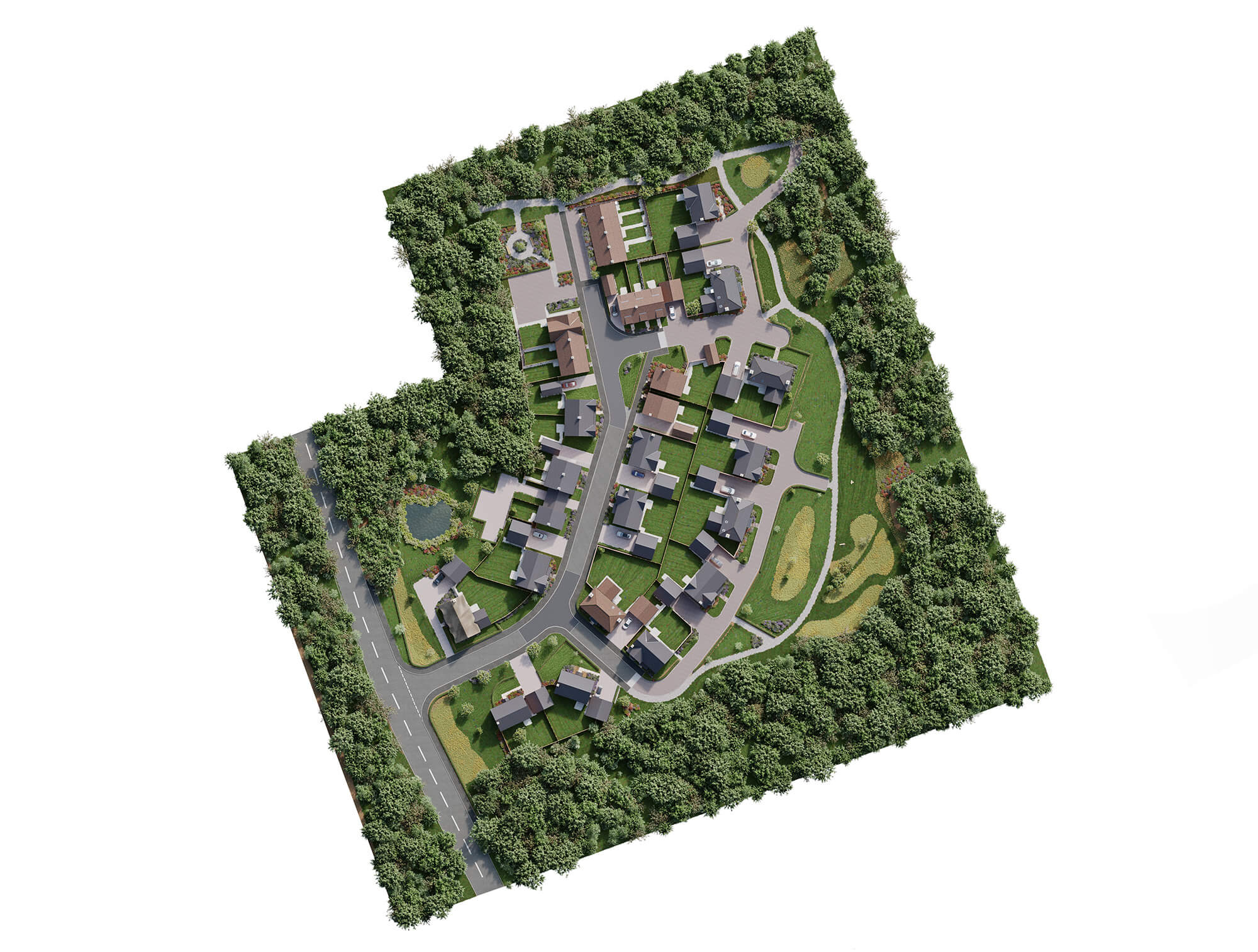 WHITE CROW STUDIOS - SPITFIRE HOMES - BANBURY LANE - AERIAL CGI