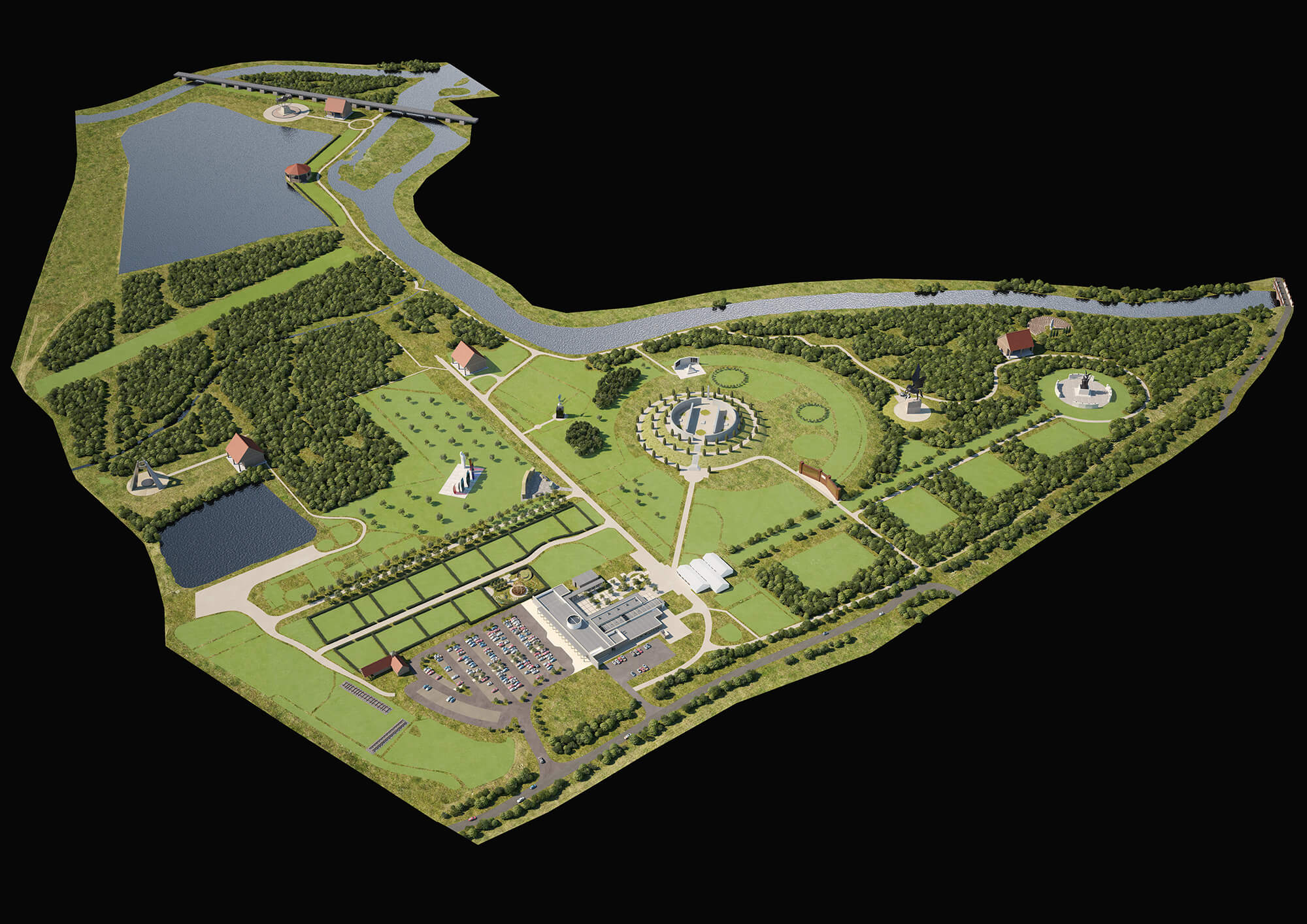 WHITE CROW STUDIOS - NATIONAL ARBORETUM MAP - 3D SITE PLAN